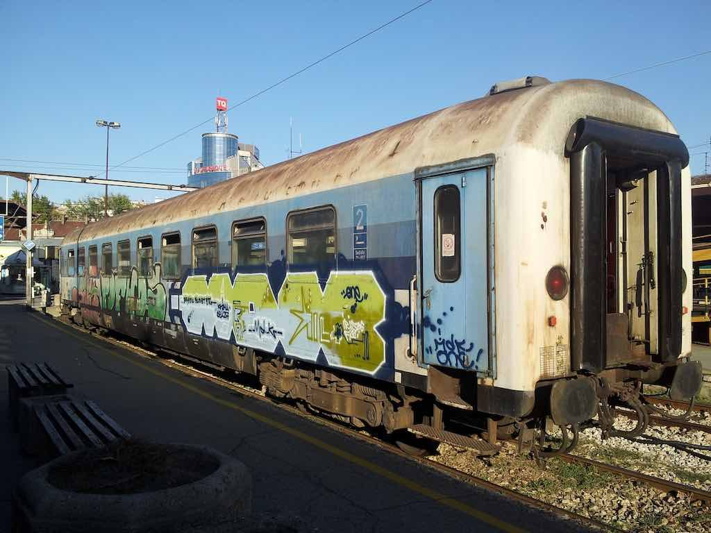 Belgrade, Serbia - Old Train with Graffiti