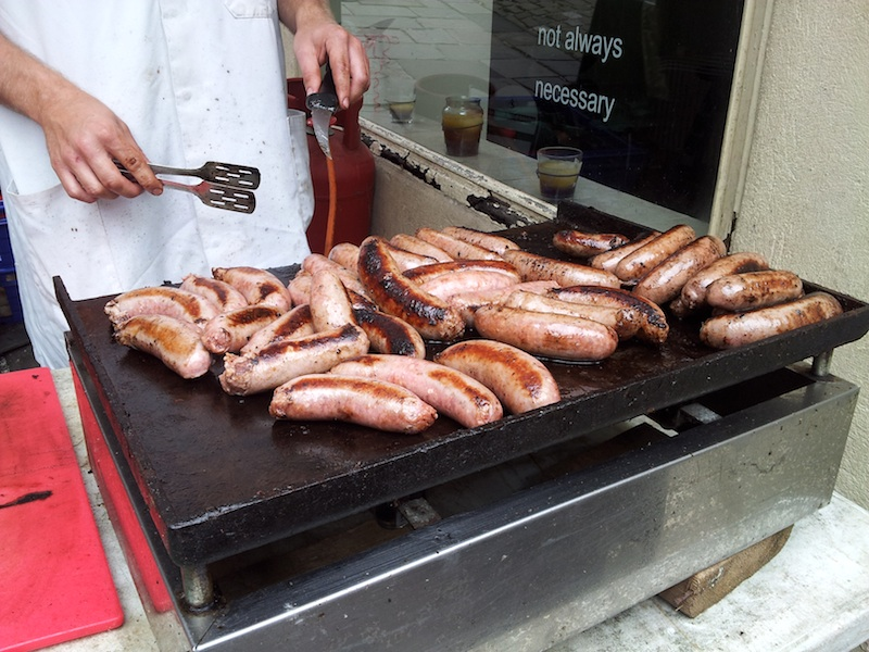 Frome, United Kingdom - Sausage for baps on St. Catherine's Hill