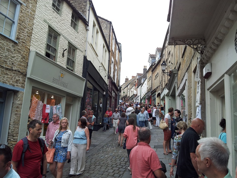Frome, United Kingdom - Shoppers on St. Catherine's Hill