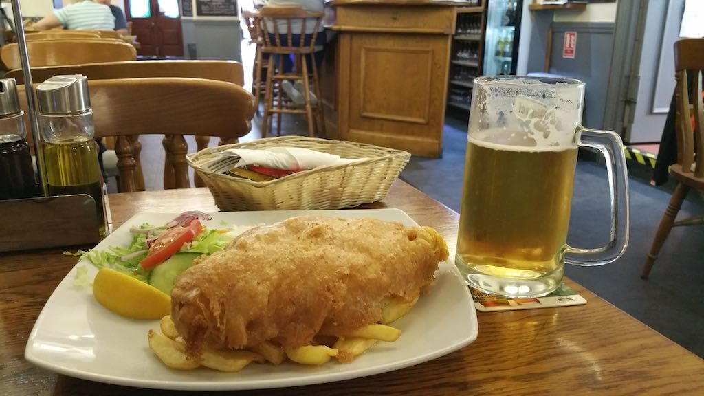 Gibraltar, United Kingdom - Fish and Chips and Beer