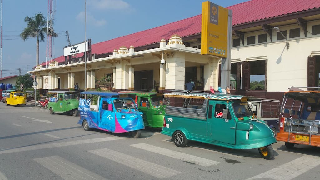 Ayutthaya, Thailand - Tuk Tuks at the railway station