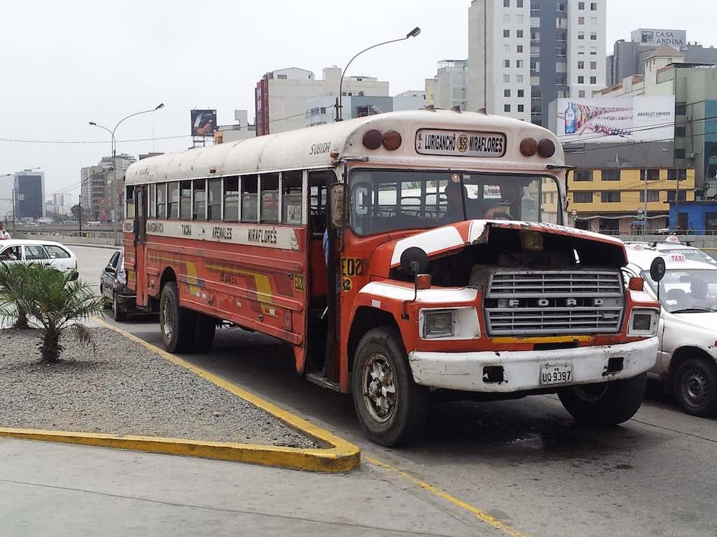 Lima, Peru - School bus turned transport