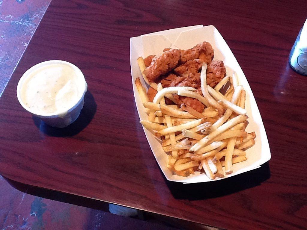Yoder, Kansas USA - Bulls Eye Grill Chicken Strip and Gravy