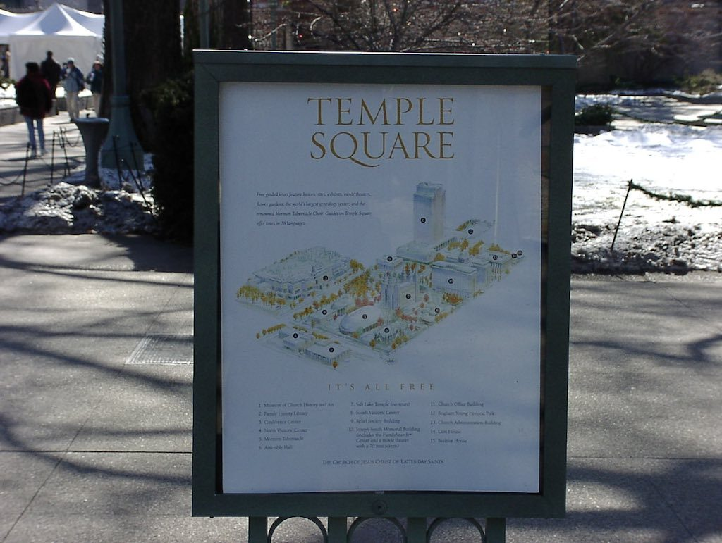 Salt Lake City Utah USA - Temple Square Map