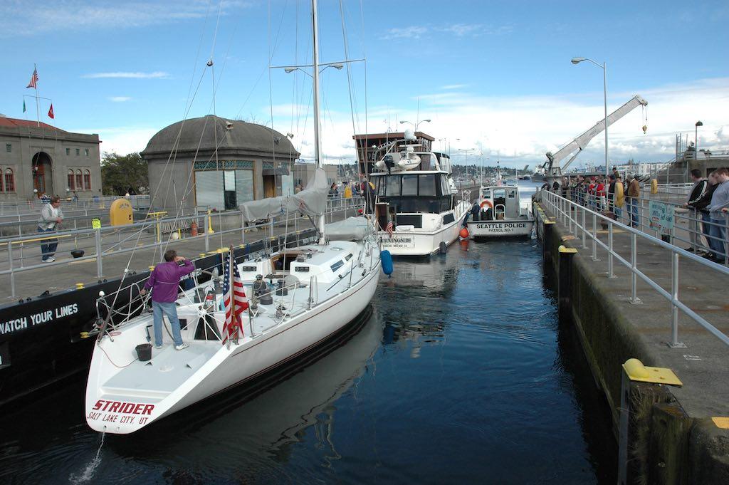 Hiram M. Chittenden Locks, Seattle, Washington USA - Boats Passing Through The Lock