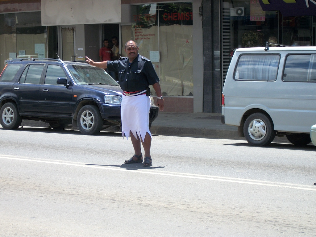 Nadi, Viti Levu, Fiji - Police Officer in Traffic