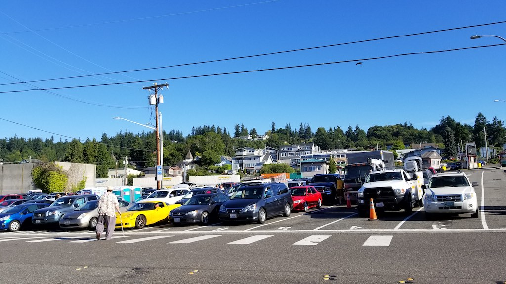 Mukilteo, Washington USA - Cars waiting for the ferry