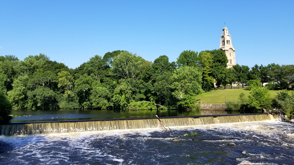 Pawtucket, Rhode Island USA - Waterfall and church