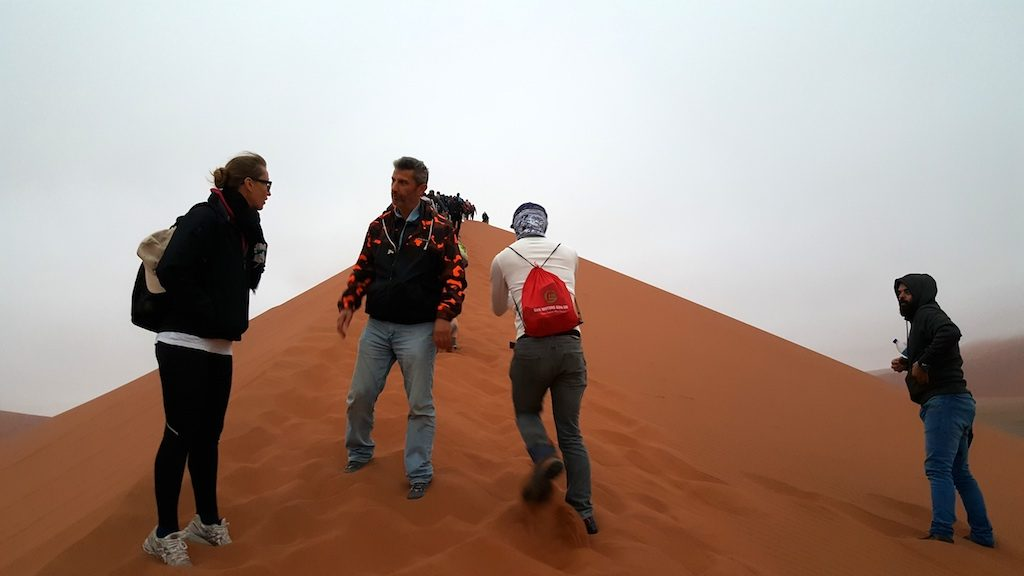 Dune 45, Sossusvlei, Namibia - Trekking up the Dune