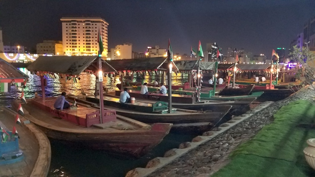Dubai Creek, Old Dubai, United Arab Emirates - Abras waiting for a fare at night