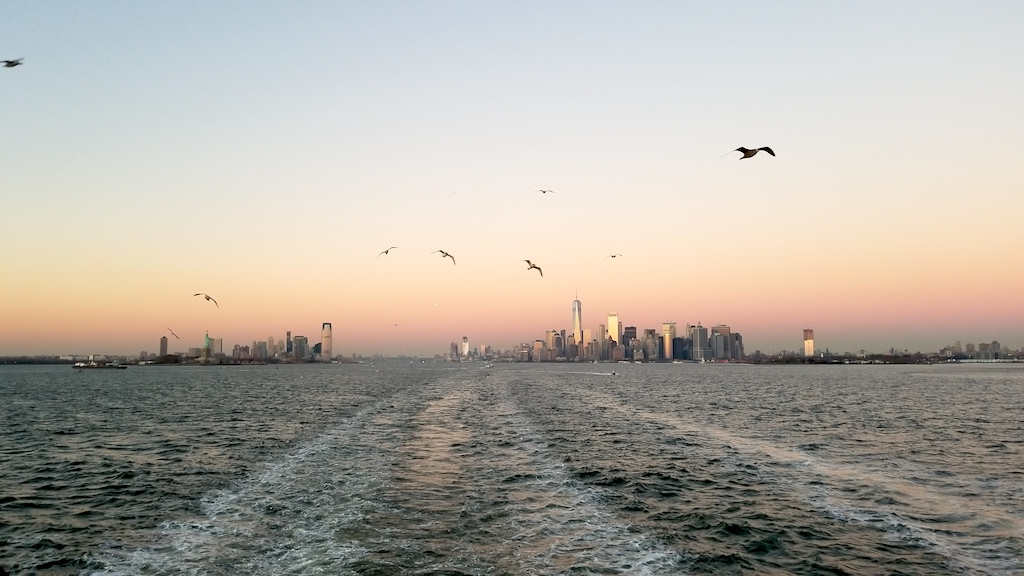 Staten Island Ferry, New York USA - New York Skyline