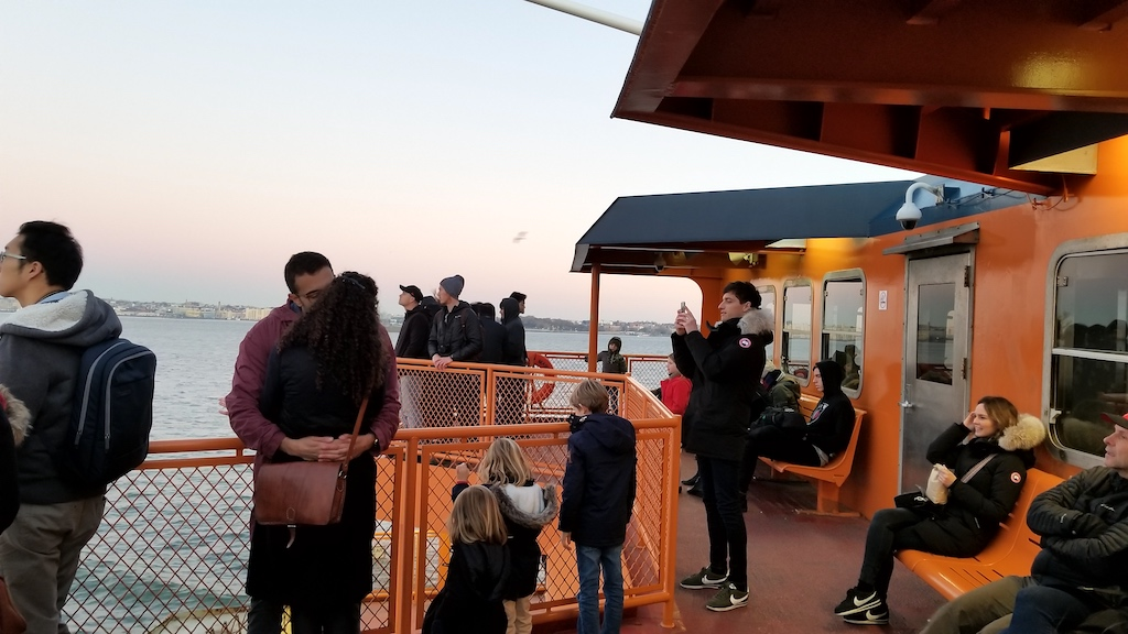 Staten Island Ferry, new York USA - People On The Ferry