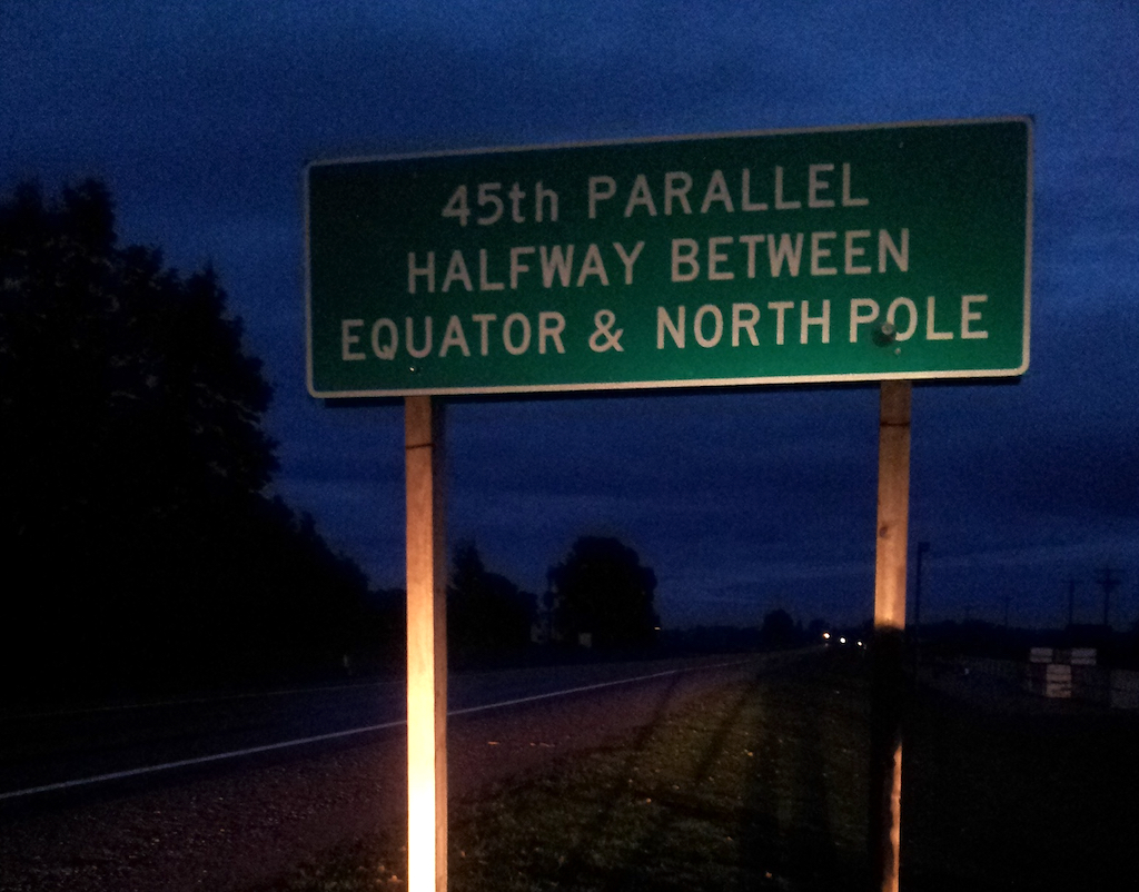 45th Parallel Marker Torch Lake, Michigan USA - sign