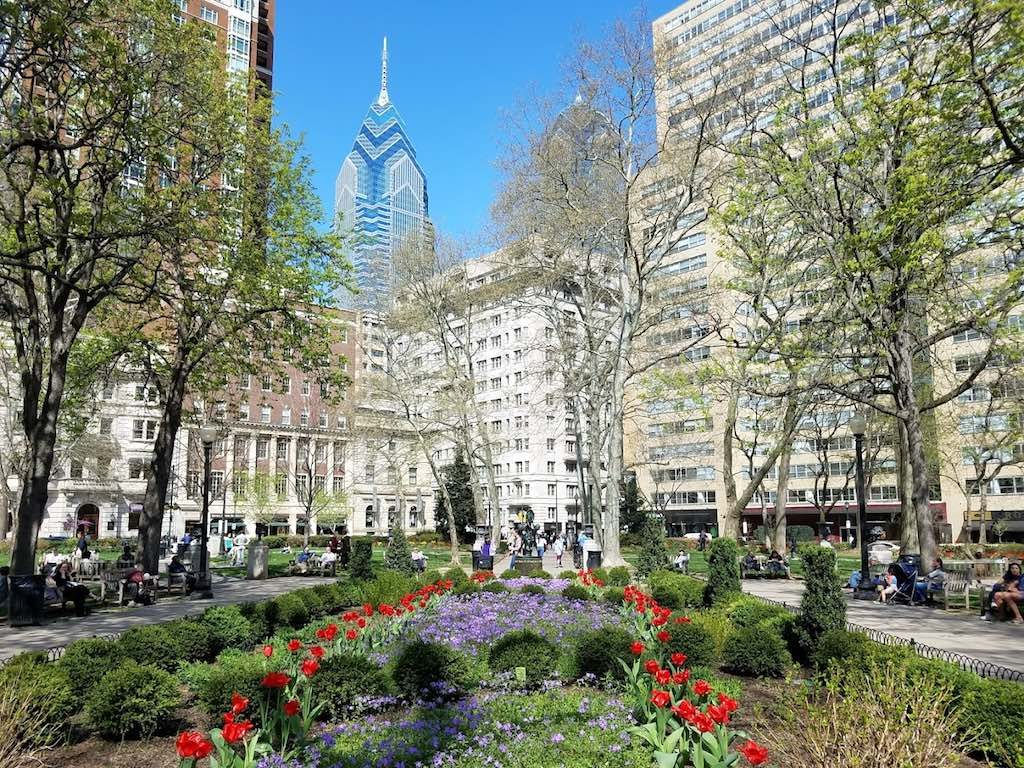 Philadelphia, Pennsylvania USA - Rittenhouse Square in the spring